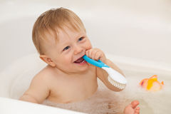Cute baby-boy taking a bath Royalty Free Stock Photography