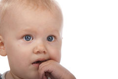 Cute Baby Boy Thinking. Little Adorable Baby Boy with the Finger in His Mouth Royalty Free Stock Photo
