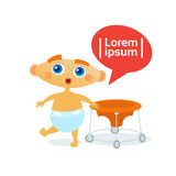 Cute Baby Boy Toddler Happy Cartoon Infant In Diaper Stock Image