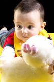 Cute baby boy with toy Royalty Free Stock Images