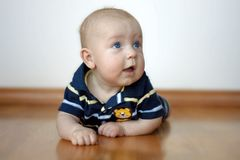 Cute Baby Boy On Tummy Stock Image