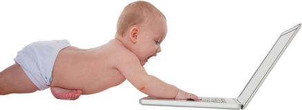 Cute baby boy using laptop computer Royalty Free Stock Image