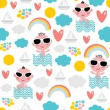 Cute baby boy on vacation seamless pattern. Royalty Free Stock Photo