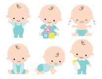 Cute Baby Boy Vector Illustration. Cute baby or toddler boy vector illustration in various poses such as standing, sitting, crying, playing, crawling royalty free illustration