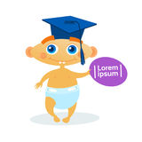 Cute Baby Boy Weating Graduation Cap Toddler Happy Cartoon Infant In Diaper. Flat Vector Illustration Royalty Free Stock Images