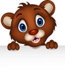 Cute baby brown bear cartoon posing with blank sign Royalty Free Stock Photos