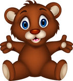 Cute baby brown bear cartoon posing Stock Photos