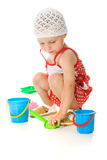Cute baby with bucket and spade Stock Photography
