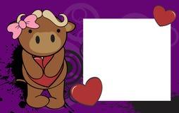 Cute baby bull girl valentine background Stock Photos