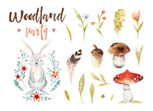 Cute baby bunny animal nursery isolated illustration for children. Watercolor boho forest drawing, watercolour, rabbit Stock Image