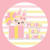 Cute baby bunny in box gift  cartoon illustration for baby shower card design Stock Images