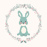 Cute baby bunny rabbit in Christmas flower and branch wreath Royalty Free Stock Images