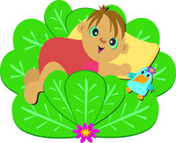 Cute Baby on a Bush with Bird Stock Image