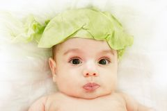 Cute baby in cabbage hat Stock Photos