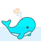 Cute Baby Calf. Cute whale calf cartoon character swimming in the big ocean with tail lifted up above the water and blowing a big heart water splash. No Royalty Free Stock Images