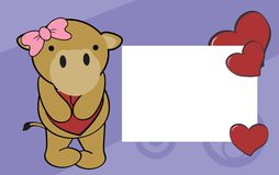 Cute baby camel girl valentine background Royalty Free Stock Images