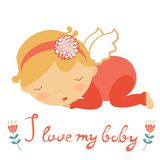 Cute baby card. I love my baby cute card with lIttle angel sleeping. Vector illustration Royalty Free Stock Photo
