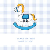 Cute baby card with rocking horse Stock Images