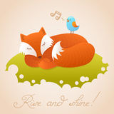 Cute baby card with sleeping red fox Royalty Free Stock Photos