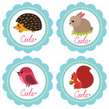 Cute baby cards. Cute baby retro-styled cards with animals. Vector illustration stock illustration
