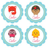 Cute baby cards. Cute baby retro-styled cards with little animals. Vector illustration stock illustration