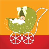 Cute  baby in carriage Royalty Free Stock Photography