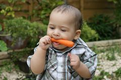 Cute Baby and carrot 1 Stock Images