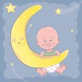 Cute baby cartoon climbs on the moon. Greeting card royalty free illustration