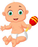 Cute baby cartoon playing with macara toy Royalty Free Stock Photography