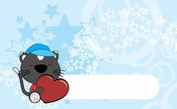 Cute baby cat valentine cartoon hug heart background Royalty Free Stock Photography