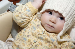 Cute baby in chair stock photo