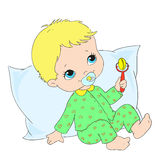 Cute baby character. Toddler in  sleepwear. Vector. Illustration Stock Images