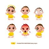 Cute baby characters emotions set. Royalty Free Stock Photo