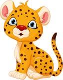 Cute baby cheetah cartoon sitting Stock Photos