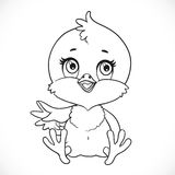 Cute baby chick sit on a white background outlined Stock Images