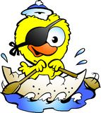 Cute Baby Chicken Rowing A Boat Royalty Free Stock Photo