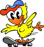 Cute baby chicken on skateboard. Hand-drawn Vector illustration of an cute baby chicken on skateboard Royalty Free Stock Photos