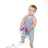 Cute baby child in headset over white Stock Photography