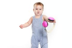 Cute baby child in headset over white Royalty Free Stock Image
