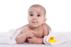 Cute baby child after shower with yellow duck Stock Photography