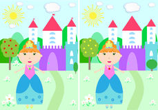 Cute baby. Children`s game puzzle find differences leisure task answer castle princess Stock Photo