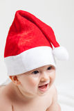 Cute baby with christmas cap Stock Photography