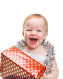 Cute baby with Christmas decoration Stock Images