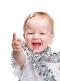 Cute baby with Christmas decoration over white Royalty Free Stock Photo