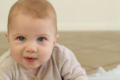 Cute Baby Close up. A beautiful baby boy with copy space Stock Photos