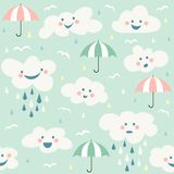 Cute baby cloud pattern vector seamless Royalty Free Stock Photo