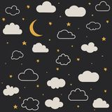 Cute baby clouds, stars, moon pattern stock photos