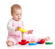 Cute baby with color educational toy Stock Images