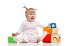 Cute baby with color educational toy Royalty Free Stock Photos