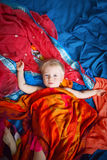 Cute baby on colorful background Stock Photo